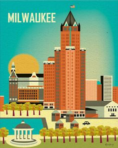 Milwaukee Wisconsin Skyline  Poster Print  Wall Art by loosepetals, $19.99