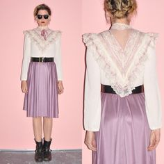 Vintage 70s Lavender Ivory Ruffle Lace Satin by WhiteCityVintage