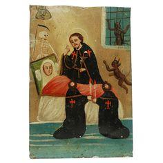 19th Century Mexican Folk Retablo - San Camilo