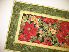 Christmas Table Runner with roses and by PicketFenceFabric on Etsy, $33.95