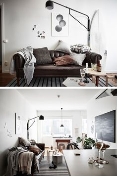 Interior styling, natural, neutral, living room, eclectic, bright, comfortable, casual, relaxed, accessories, interior design, polaroids, throw, sweden, minimalistic, minimalism, grey, leather, surf board