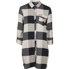 TopShop Tall Check Shirt Dress (€50) via Polyvore featuring dresses, navy blue, oversized shirt dress, navy blue cotton dress, oversized dress, cotton shirt dress and shirt-dress