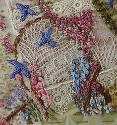 The twig arbor was for Ati and is on a piece of lace her grandmother made. (this picture was so tiny, so I enlarged it to help see the details, but it's a tiny bit blurry, but still can be seen better) ~By olderrose Ribbon Embroidery, Embroidery Stitches, Embroidery Patterns, Crazy Quilt Blocks, Crazy Quilting, Quilting Ideas, Crochet Quilt, Crochet Owls, Ideas