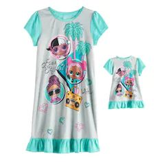 AME Sleepwear Girls Vampirina Flannel Toddler Nightgown with Matching Doll Gown