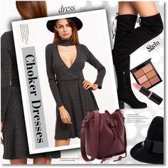 Choker Dresses by svijetlana on Polyvore featuring moda, Gucci, MAC Cosmetics, shein and chokerdress