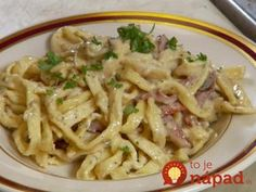 Pancetta Bacon Pasta Recipe from Food Network. I used regular bacon instead of Pancetta and added peas. It turned out great! Bacon Pasta Recipes, Dove Recipes, Food Network Recipes, Cooking Recipes, How To Cook Pasta, Pasta Dishes, Pasta Food, Italian Recipes, Macaroni And Cheese