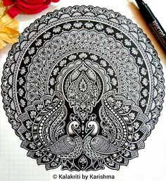 How about combining two different ideas to create a new idea?😊 Please swipe to see two of my old artworks from which this work is inspired. Mandala Art Lesson, Mandala Artwork, Mandala Doodle, Mandala Painting, Doodle Doodle, Doodle Borders, Doodle Art Drawing, Mandala Drawing, Art Drawings