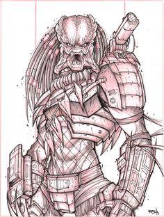"Predator ""Suave"" Commish For Shane P. WIP 02 - Final Lines done! - Rad _________________________________________________ Starting work on my next Kickstarter, gonna combine my gaming magazine . Predator Tattoo, Alien Vs Predator, Arte Alien, Alien Art, Alien Drawings, Dark Art Drawings, Comic Books Art, Book Art, Character Art"