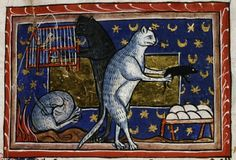 Cats doing cat things: sleep, play with mice, and take an unhealthy interest in caged birds from a medieval bestiary
