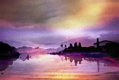 Contemporary Wall Art, Twilight, Fine Art America, Watercolor Paintings, Art Gallery, Instagram Images, Sky, River, Sunset