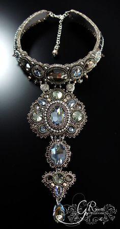Swarovski Grey Choker by LiaReed on Etsy Bead Embroidery Jewelry, Beaded Embroidery, Soutache Jewelry, Beaded Jewelry, Handmade Jewelry, Beaded Necklace, Pearl Necklace, Necklaces, Jewelry Art