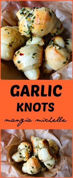 Garlic knots are a fast and delicious treat that only require 4 main ingredients ~ www.mangiamichelle.com