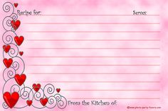 Free Printable Recipe Cards (4 x 6 inches) feature a design with hearts for recipes you make with love!