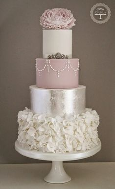 Silver and Mauve Wedding Cake                                                                                                                                                                                 More #weddingcakes