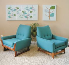 Adrian Pearsall, 1960's, Mid Century Modern, sleekandsimplelines.com love this pairing, chairs and art