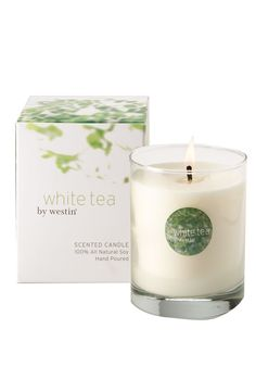 This all-natural soy candle was hand-poured into a pure glass holder, and offers the soothing scent of white tea to illuminate and refresh any room.