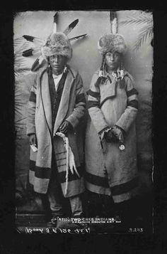 """""""Two Cree Indians"""" by Mathers, Edmonton, N.W.T., prior to 1905"""