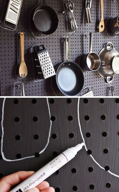 DIY Kitchen Pegboard | Click Pic for 20 DIY Kitchen Storage Ideas for Small Spaces | Easy Kitchen Organization Ideas