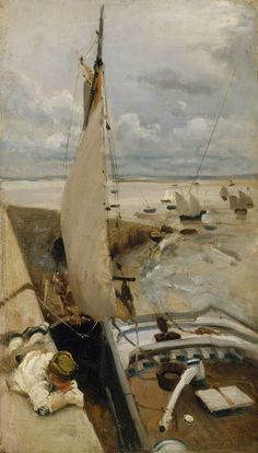 John Singer Sargent - Low Tide at Cancale Harbor, 1878,SoYouThinkYouCanSea!