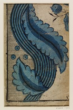 V&A Wallpaper - Fragment of wallpaper with a floral design in two tones of blue, on a stripe and pin-point background; Fabrique de Martin Bijou à Paris, no Print from wood block and colour stencil, on paper. Textile Patterns, Textile Prints, Print Patterns, Lino Prints, Floral Patterns, Block Prints, Floral Prints, Of Wallpaper, Pattern Wallpaper