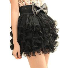Vktech New Women Girls Full Tutu Tulle Tier 5 Layer Mini Cake Skirt Black Fashion