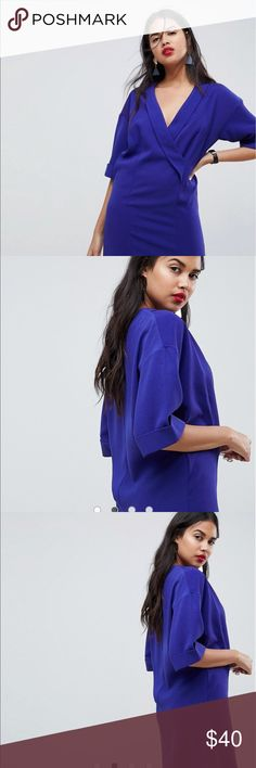 ASOS Royal Blue Shift Dress PRODUCT DETAILS Dress by ASOS Collection Plunge neck Take a dive Cross-over front Keep it under wraps Dropped shoulders Regular fit - true to size Mini dress length between: 86-90cm  US SIZE 6  Brand New without tags Dresses