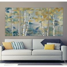 'Gilded Forest I' - 3 Piece Wrapped Canvas Multi-Piece Image Print String Wall Art, Diy Wall Art, Metal Wall Art, Nail String, Wall Decor, Large Canvas Art, Diy Canvas Art, Large Wall Art, House Painting