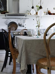 table cloth and mix-matched chairs