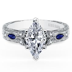 Absolute perfection. Marquis diamond + filigree + split stem = yes.  Kirk Kara Dahlia Marquise Cut Blue Sapphire Diamond Engagement Ring · K1126SDG-R · Ben Garelick Jewelers