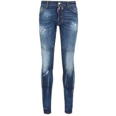 Dsquared2 'Cool Guy' distressed slim fit jeans ($480) ❤ liked on Polyvore featuring men's fashion, men's clothing, men's jeans, blue, mens slim jeans, mens slim cut jeans, mens destroyed jeans, mens distressed jeans and mens ripped jeans