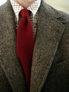Ralph Lauren Polo Scottish tweed, Barbour tattersall shirt, Arnie wool knit tie.