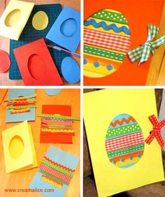 Cute idea for making Easter cards in the classroom! Easter Arts And Crafts, Xmas Crafts, Paper Crafts, Tarjetas Diy, Crafts For Seniors, Easter Activities, Preschool Art, Diy Cards, Making Ideas