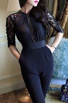 eaf12d51943 Cutout Decorative  lace Plain  jumpsuit Designer Party Dresses