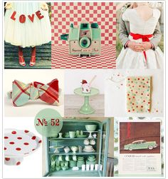 This mint mood board is one of my faves. I think the lighter mint green isn't too girlie if you're worried about that, the retro feel is fun and laidback, and the polka-dots are sunny and happy.