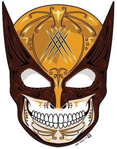 Wolverine Brown Mask Sugar Skull Vinyl Sticker - My Sugar Skulls Wolverine Tattoo, Wolverine Art, Wolverine And Jean Grey, Compass Tattoo, Sugar Skull Tattoos, Sugar Skulls, Sugar Skull Artwork, Avengers Art, Marvel Comic Universe