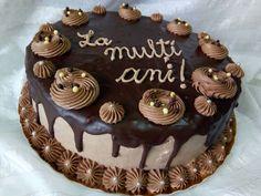 Hellena  ...din bucataria mea...: Tort ciocolatos Happy Birthday, Birthday Cake, Sweet, Desserts, Cakes, Food Cakes, Sweets, Recipes, Cooking