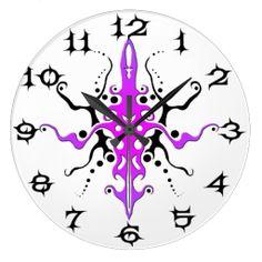 Tribal Mayan God Tattoo - pink purple #s Wallclocks #Tribal #MayanGod #Tattoos #Clocks