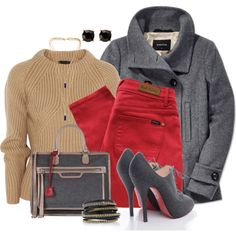 2-Toned Gray&Tan w/ red, created by hollyhalverson on Polyvore
