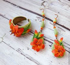 polymer clay lily jewelry, fimo flower set