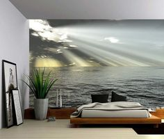 Seascape Ocean Rays of Light - Large Wall Mural, Self-adhesive Vinyl Wallpaper, Peel & Stick fabric wall decal