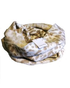 """Calvin Klein animal print infinity scarf. Cream and metallic gold. One size. Measures 65"""" around. New with tags. Great for cold weather. Cozy and stylish! This scarf would make an excellent gift this holiday season! 1/2  TF"""