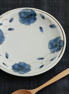 六寸皿(花つる草)