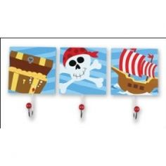 Hooks to hang buckets for art wall in pirate room.  Use for idea....