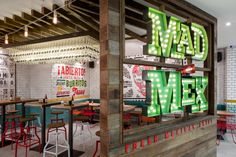 Mad Mex grill restaurant by McCartney Design, Sydney Australia fast food Grill Restaurant, Mexican Restaurant Design, Mexican Design, Restaurant Interior Design, Cafe Interior, Design Blog, Design Studio, Cafe Design, Menu Design