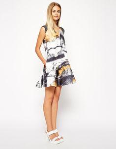 Enlarge ASOS Bonded Peplum Hem Shift Dress in Forest Print