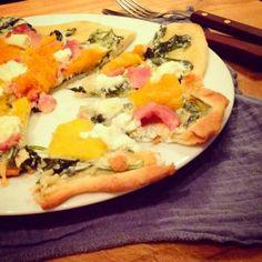 Mine matskriblerier: Pizza med gresskar, bacon og chevre