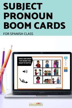 Have you tried BOOM Cards with your students? They're digital and self-checking, which means students get instant feedback, and you don't have to grade! They're self-grading! Your students can read, listen, and write to get practice! This set is perfect for your middle school and high school Spanish classes as they study subject pronouns! It's the perfect activity for homework, review, or even formative assessment! Click to see more and to try it out! Spanish Lesson Plans, Spanish Lessons, Middle School Spanish, Spanish 1, Formative Assessment, Interactive Cards, Spanish Classroom, Class Activities, Task Cards