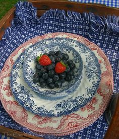 red and blue transferware tablescape   Mixing red and white transferware with blue and white instantly gives ...