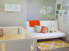 I like the idea of a futon in the nursery. Makes the room more functional.
