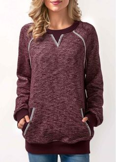 Burgundy Long Sleeve Patchwork Pocket Sweatshirt on sale only US$33.57 now, buy cheap Burgundy Long Sleeve Patchwork Pocket Sweatshirt at Rosewe.com
